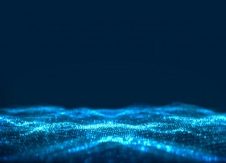Free Stock Photo of Abstract Background - Blue Waves and Particles - Technology Created by Jack Moreh