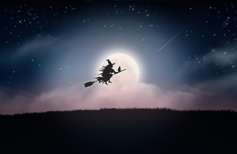 Free Stock Photo of Witch Flying at Night Over the Moon - Halloween Created by Jack Moreh