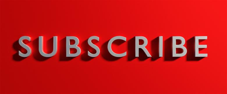 Free Stock Photo of Metallic Subscribe Text on Red Created by Akash Kumar Nayak