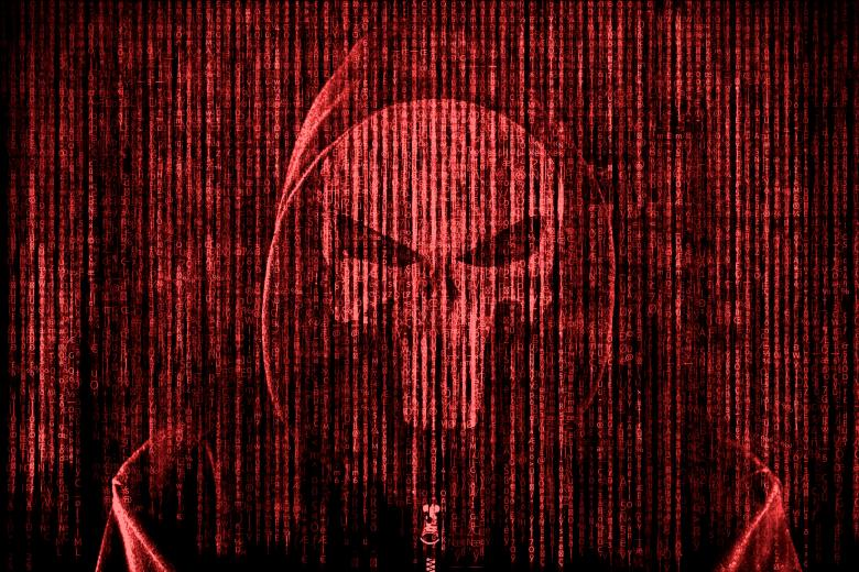 Free Stock Photo of Anonymous Computer Hacker over Computer Code - Red Color Created by Jack Moreh