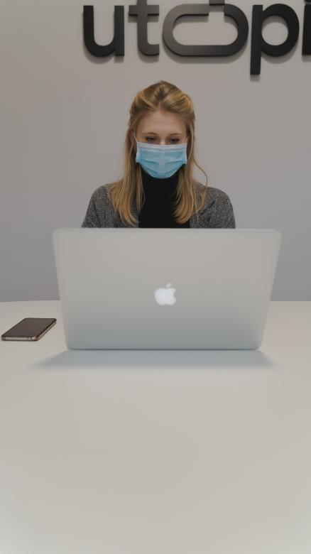 Free Stock Photo of Woman with Mask - Working at Office Created by Maxime