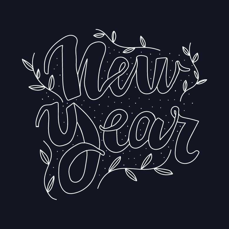 Free Stock Photo of Beautiful and Feminine Lettering for the New Year Created by Sara