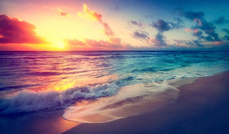 Free Stock Photo of Bright Colorful Sunset on the Beach - Hazy Looks Created by Jack Moreh