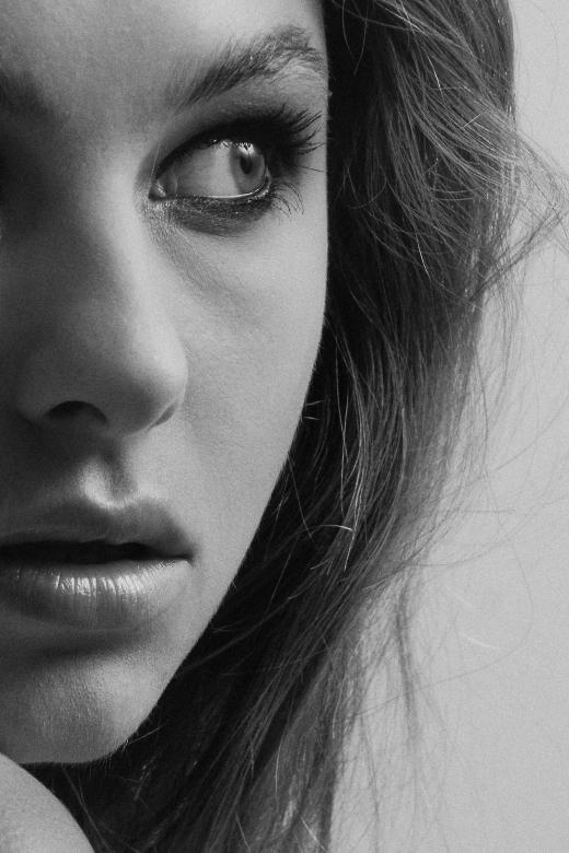 Free Stock Photo of Half Portrait - Female Face - Monochrome Created by Alexander Krivitskiy
